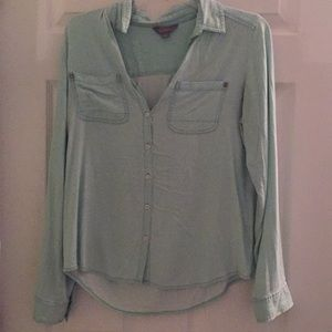 Soft washed mint button down